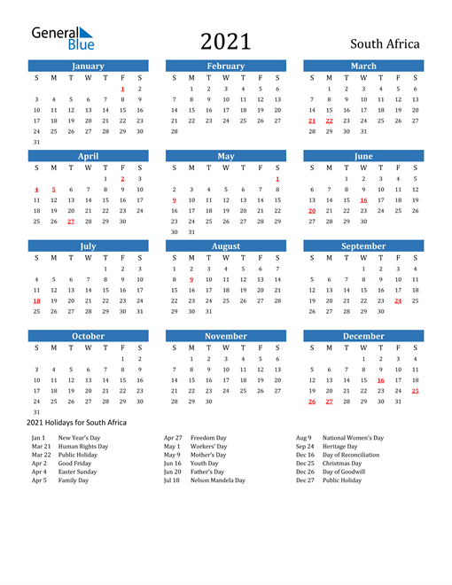 Image of South Africa 2021 Calendar with Holidays