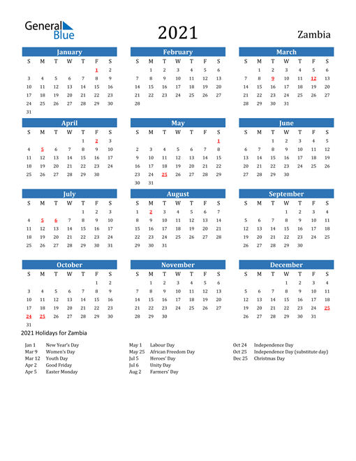 Image of 2021 Calendar - Zambia with Holidays