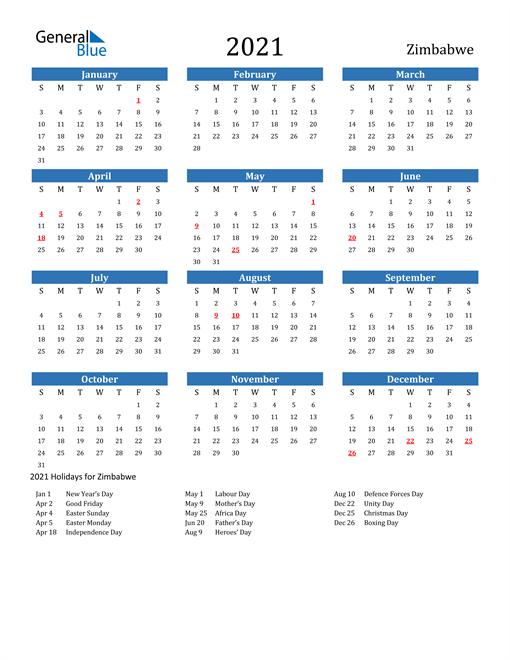 2021 Calendar with Zimbabwe Holidays