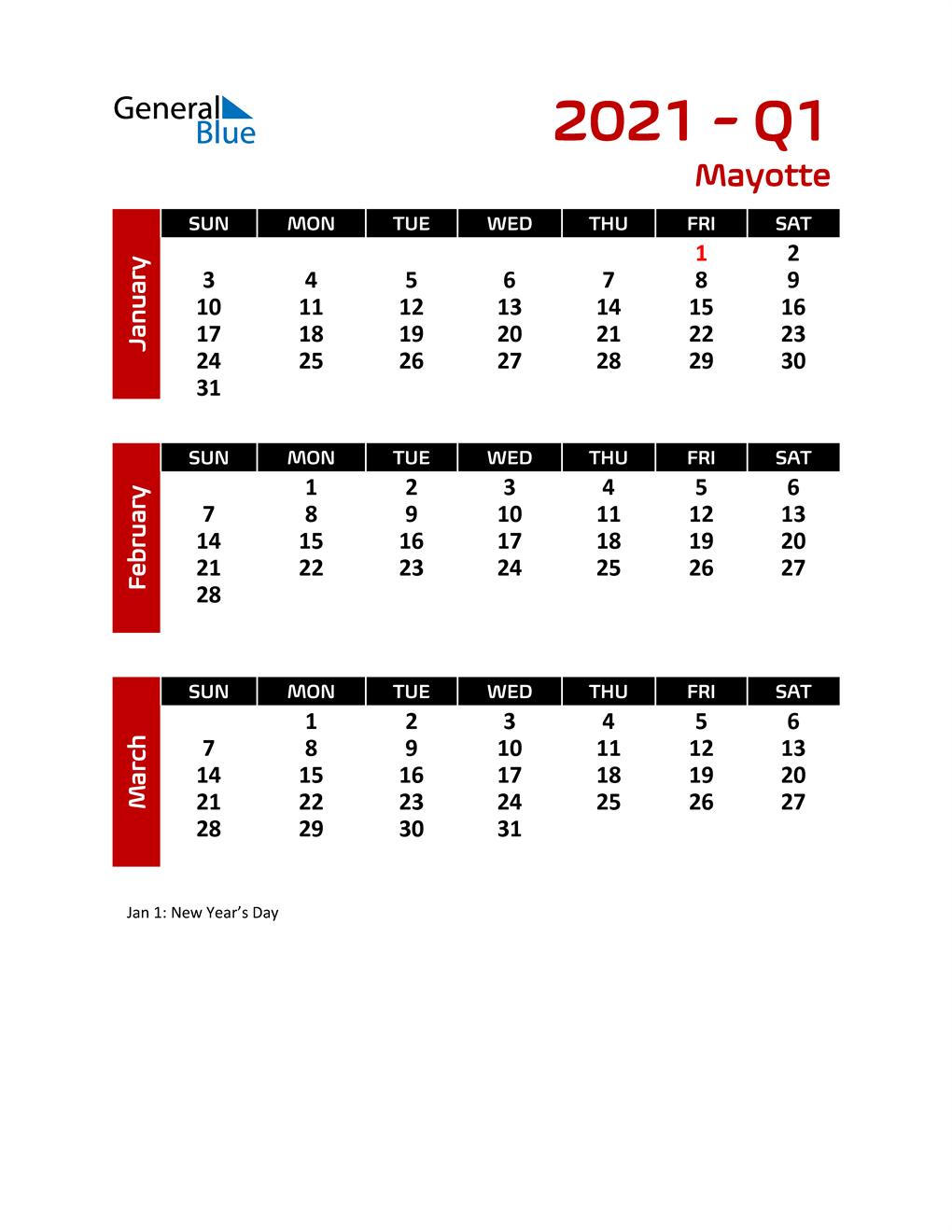 Q1 2021 Calendar with Holidays