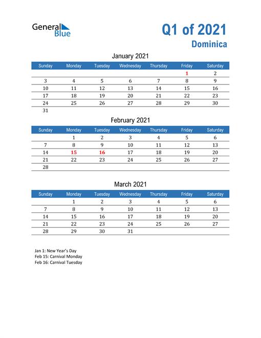 Dominica 2021 Quarterly Calendar