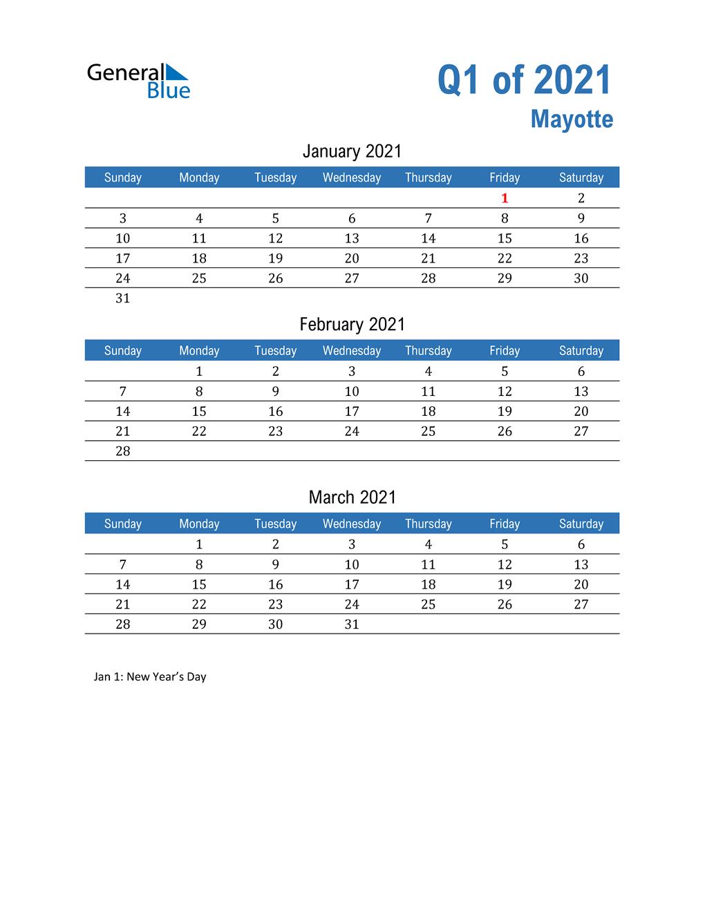 Mayotte 2021 Quarterly Calendar