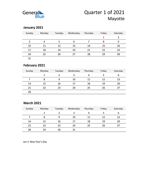 2021 Three-Month Calendar for Mayotte