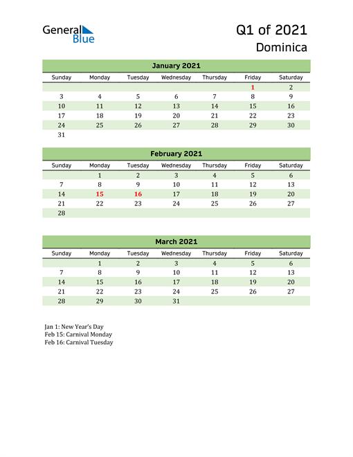 Quarterly Calendar 2021 with Dominica Holidays