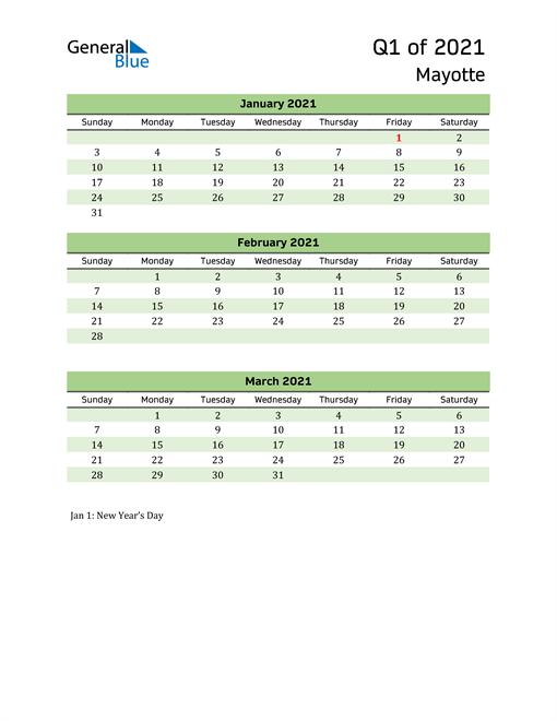 Quarterly Calendar 2021 with Mayotte Holidays