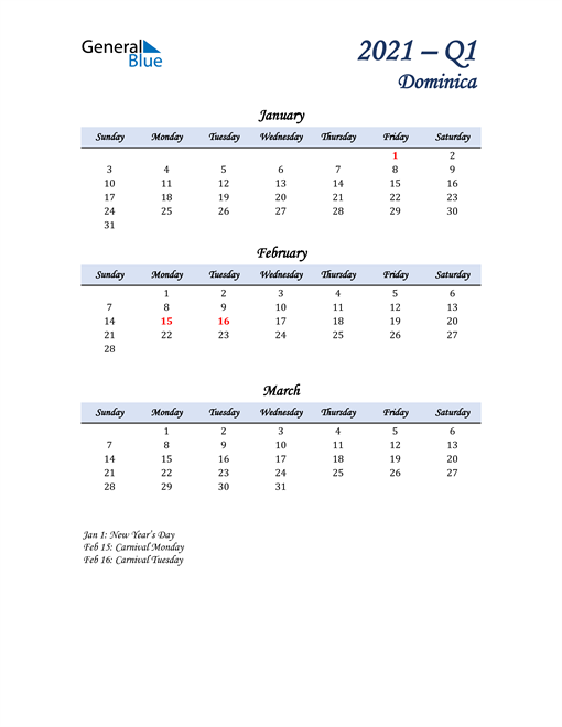 January, February, and March Calendar for Dominica