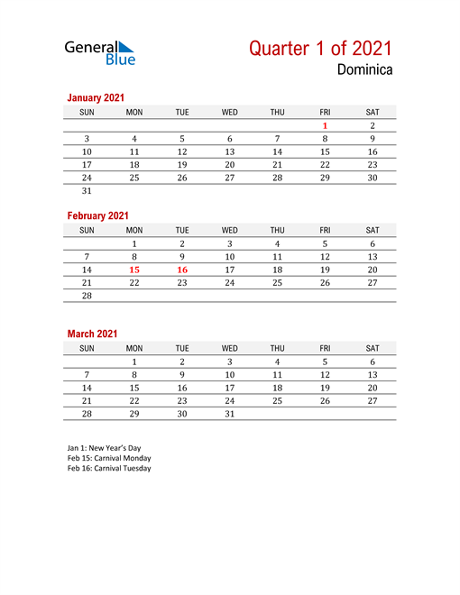 Printable Three Month Calendar for Dominica