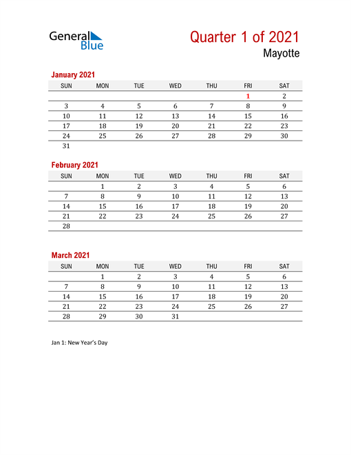 Printable Three Month Calendar for Mayotte