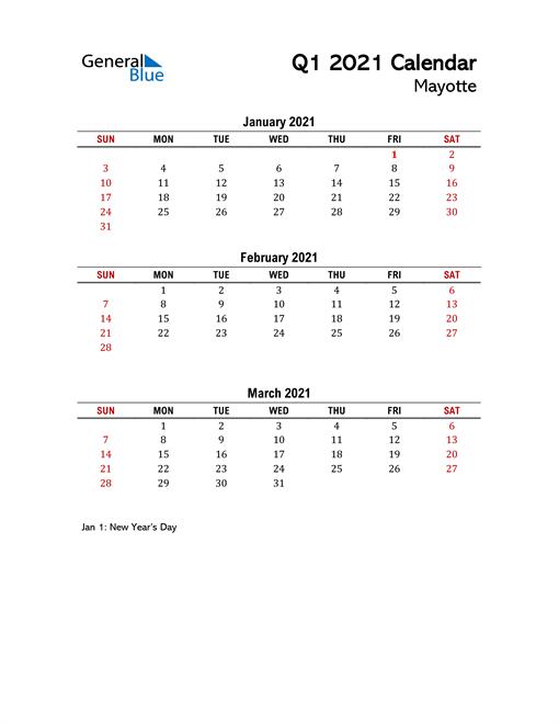 2021 Q1 Calendar with Holidays List