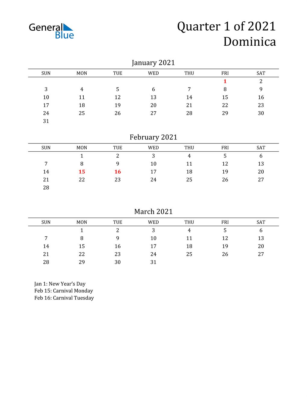 2021 Dominica Quarterly Calendar