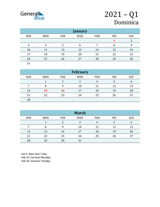 Three-Month Planner for Q1 2021 with Holidays