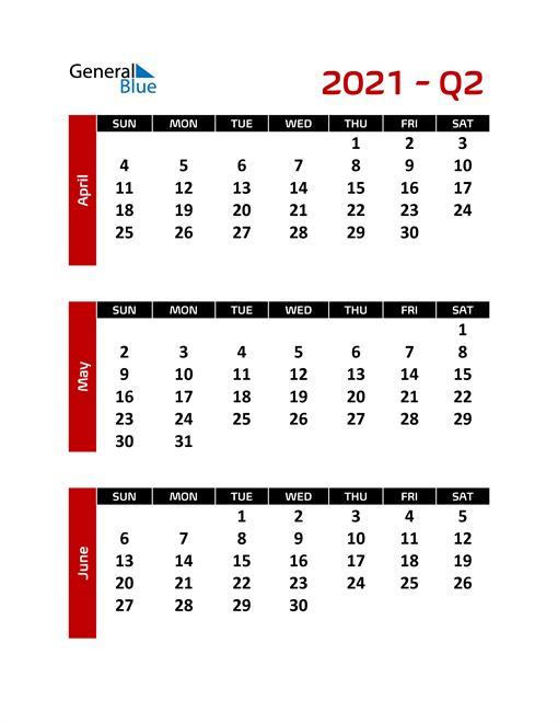 Editable Quarterly Calendar