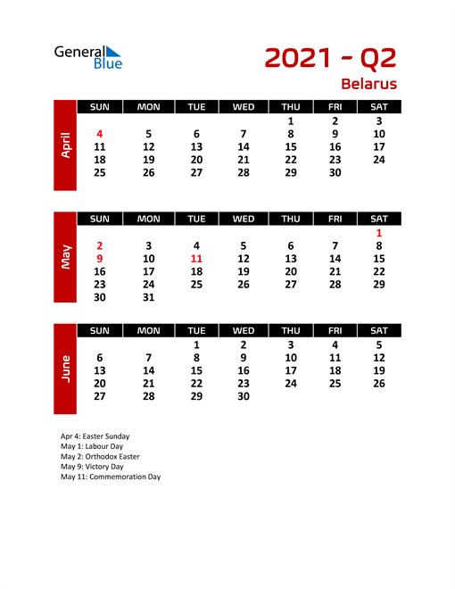 Q2 2021 Calendar with Holidays