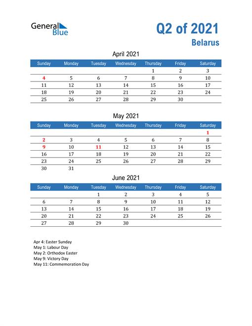 Belarus 2021 Quarterly Calendar