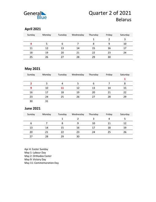 2021 Three-Month Calendar for Belarus
