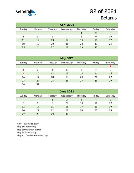 Quarterly Calendar 2021 with Belarus Holidays