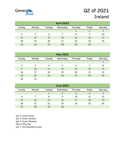 Quarterly Calendar 2021 with Ireland Holidays
