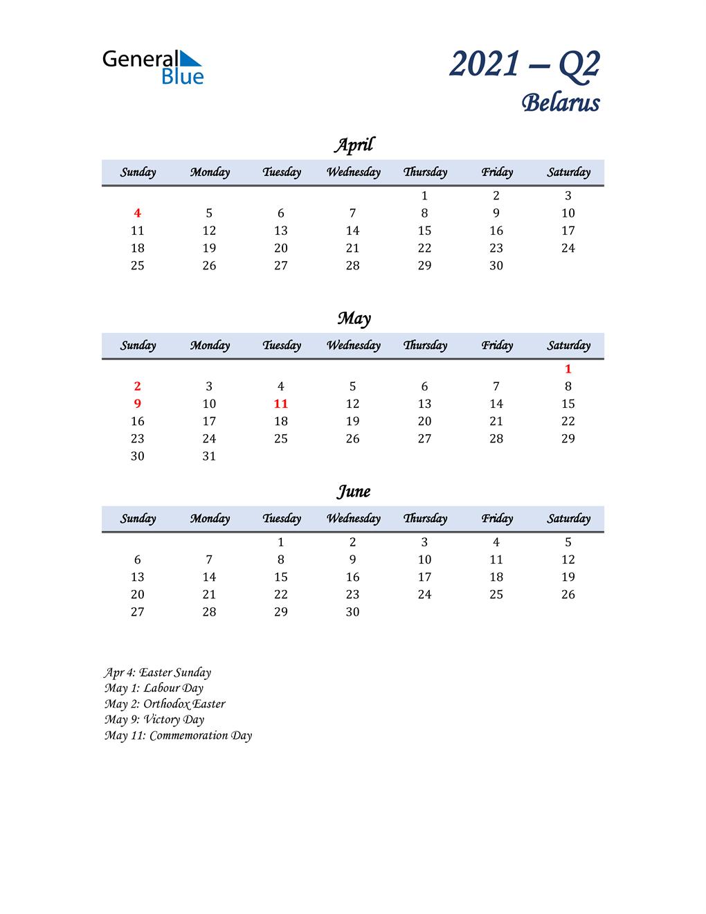 April, May, and June Calendar for Belarus