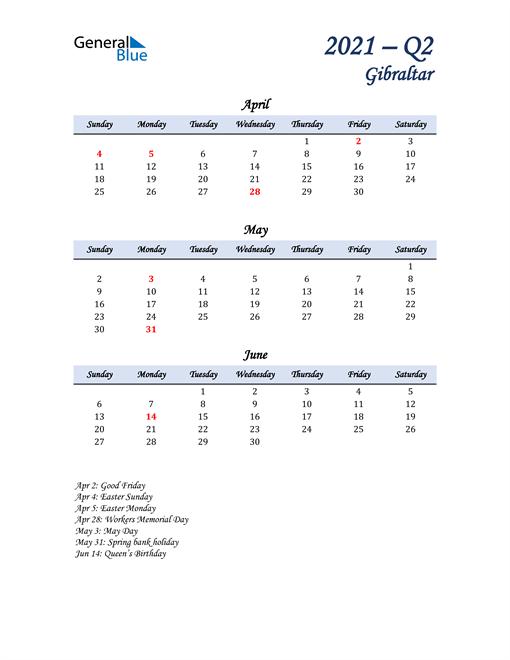April, May, and June Calendar for Gibraltar