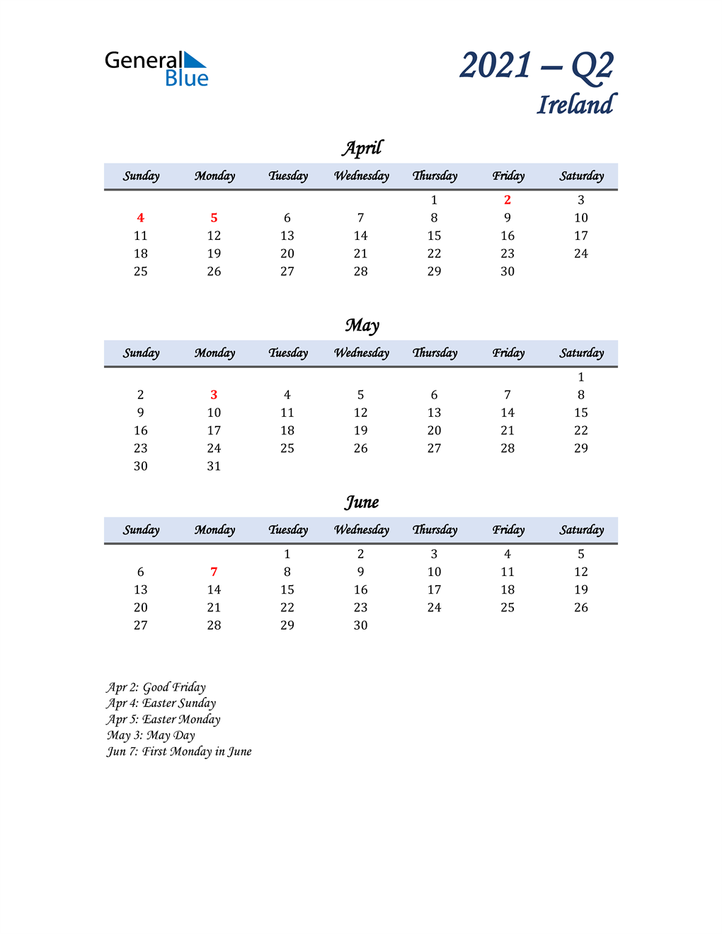 April, May, and June Calendar for Ireland