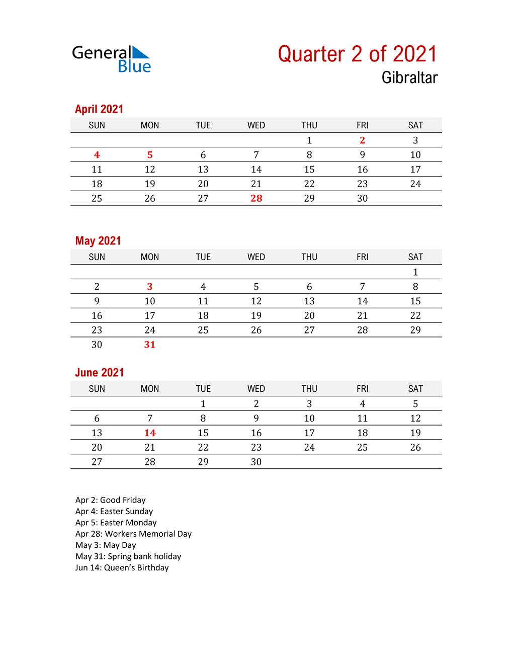 Printable Three Month Calendar for Gibraltar