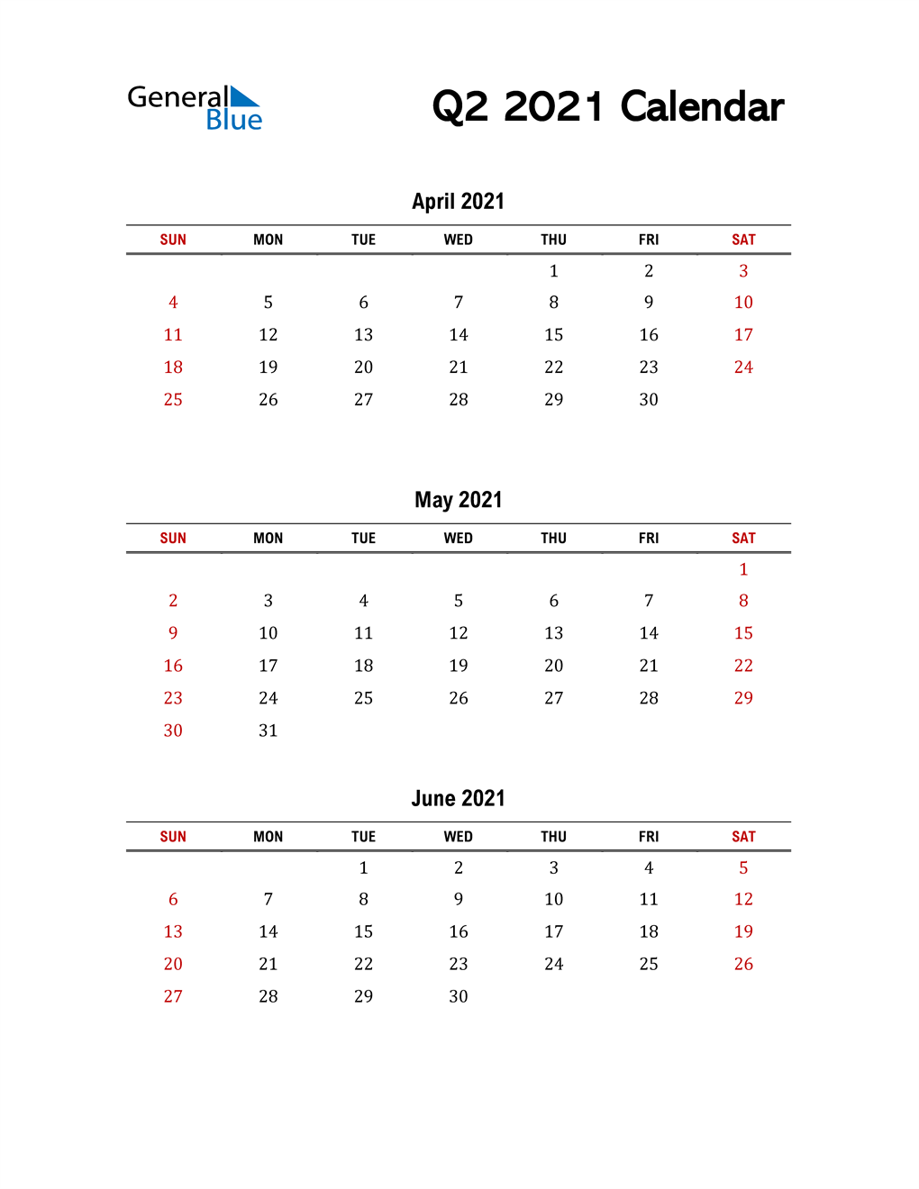 2021 Q2 Calendar with Red Weekend