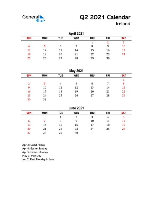 2021 Q2 Calendar with Holidays List