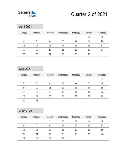 April, May, and June Calendar 2021