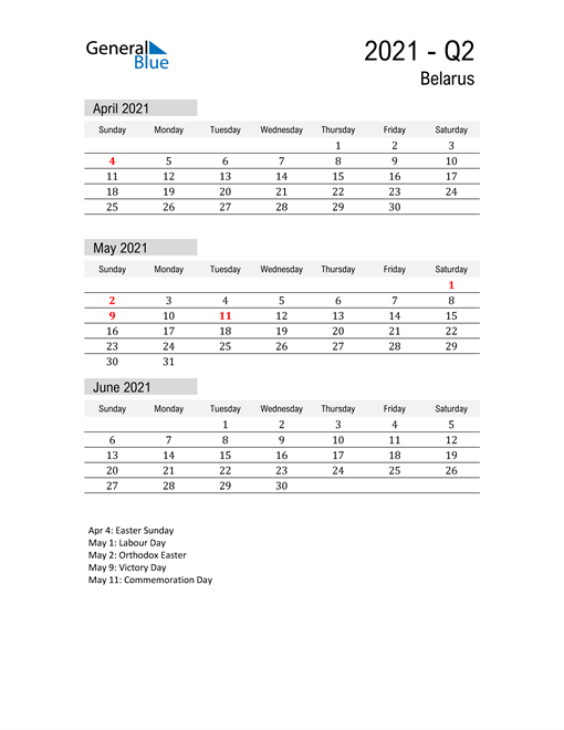Belarus Quarter 2 2021 Calendar
