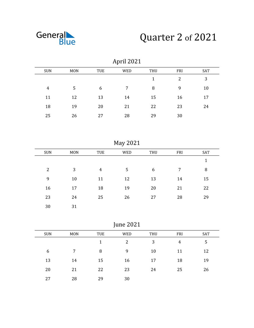 2021 Three-Month Calendar