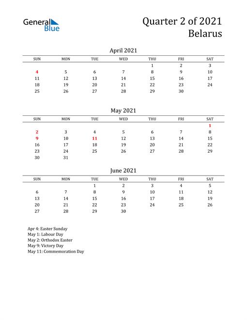 2021 Belarus Quarterly Calendar