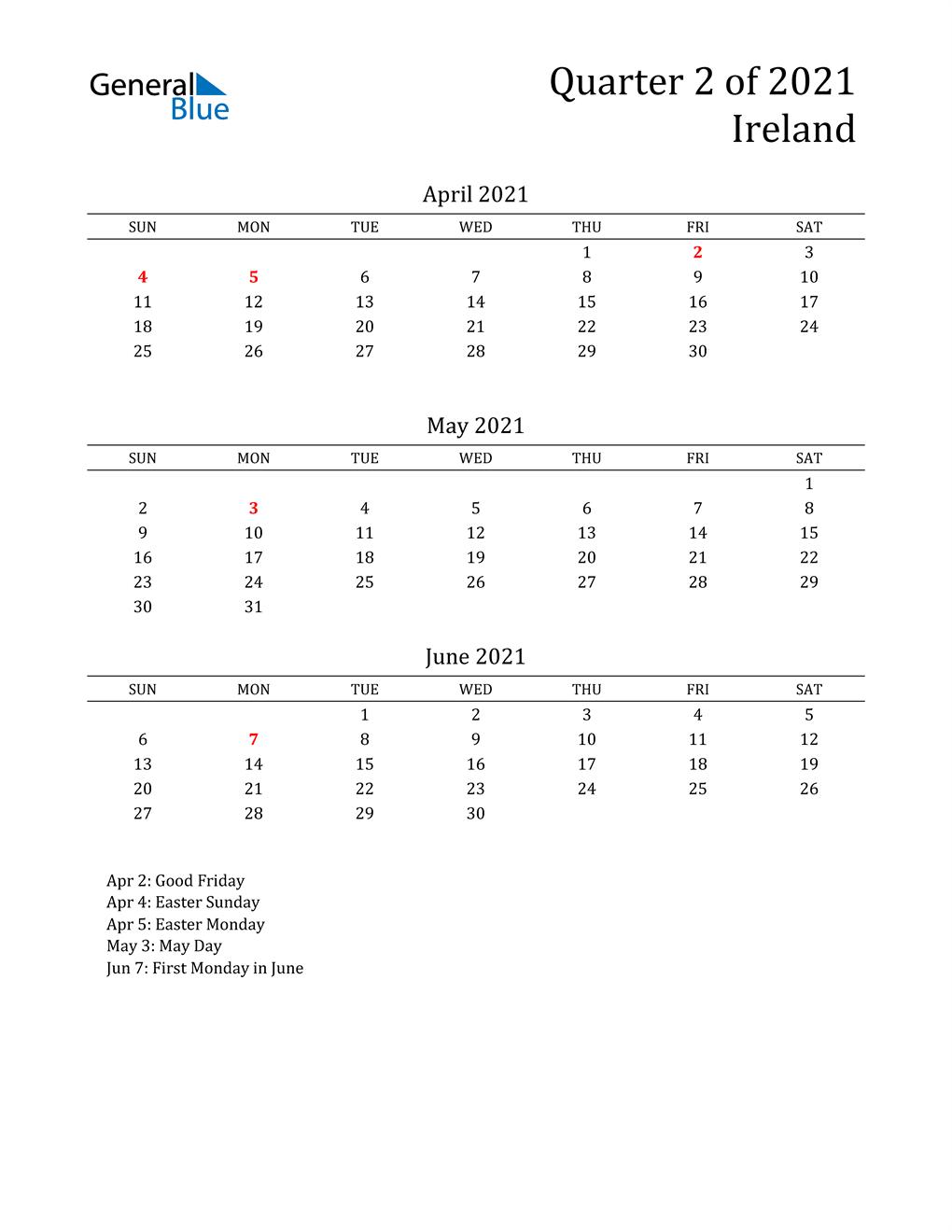 2021 Ireland Quarterly Calendar