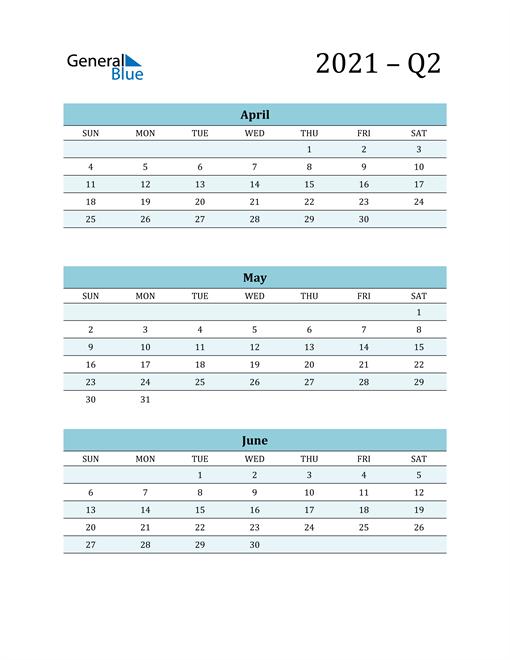 April, May, and June 2021 Calendar