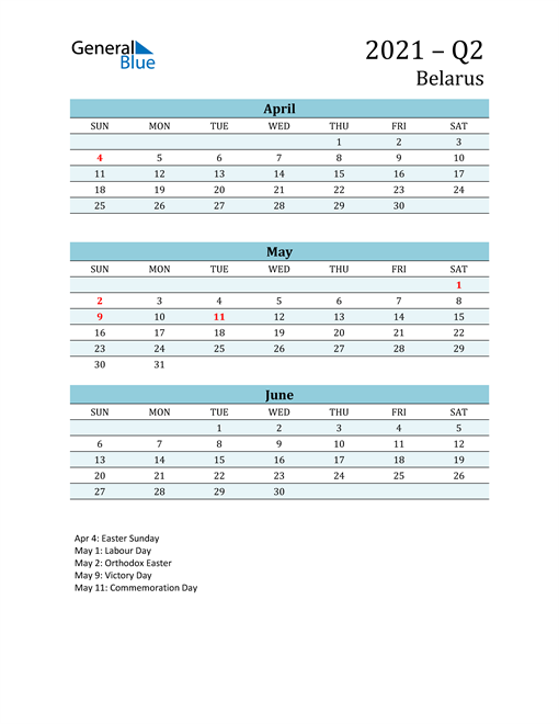 Three-Month Planner for Q2 2021 with Holidays