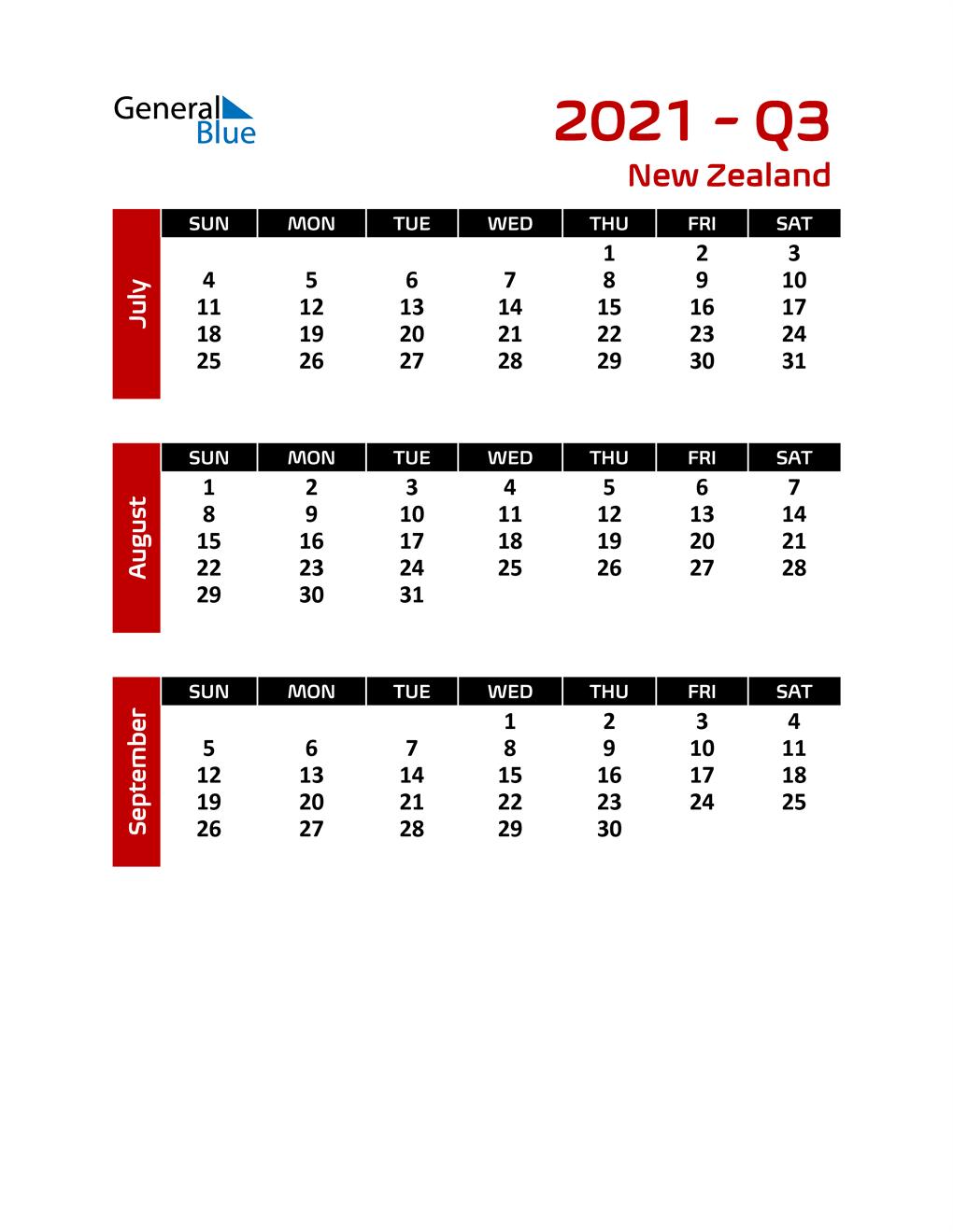 Q3 2021 Calendar with Holidays