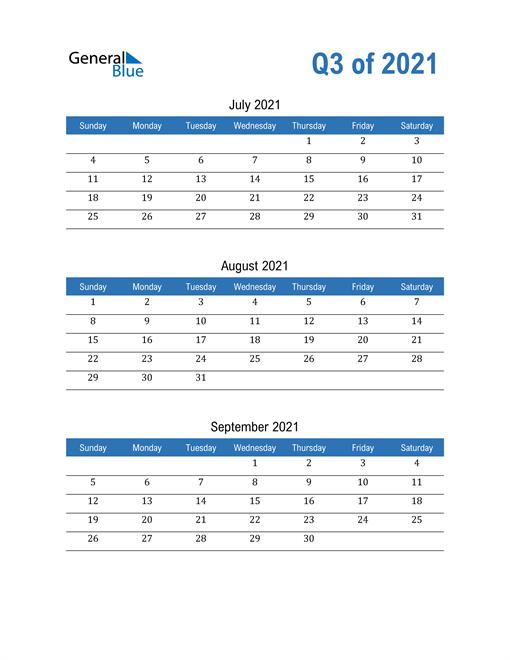 Quarterly Calendar 2021