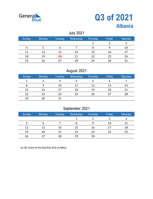 Albania 2021 Quarterly Calendar