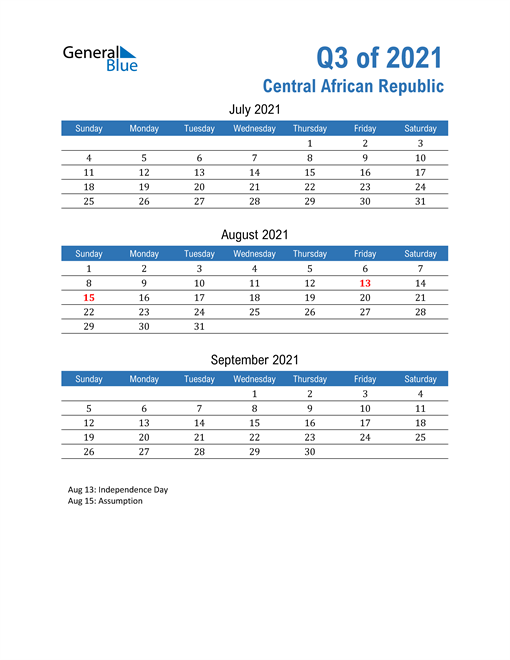 Central African Republic 2021 Quarterly Calendar