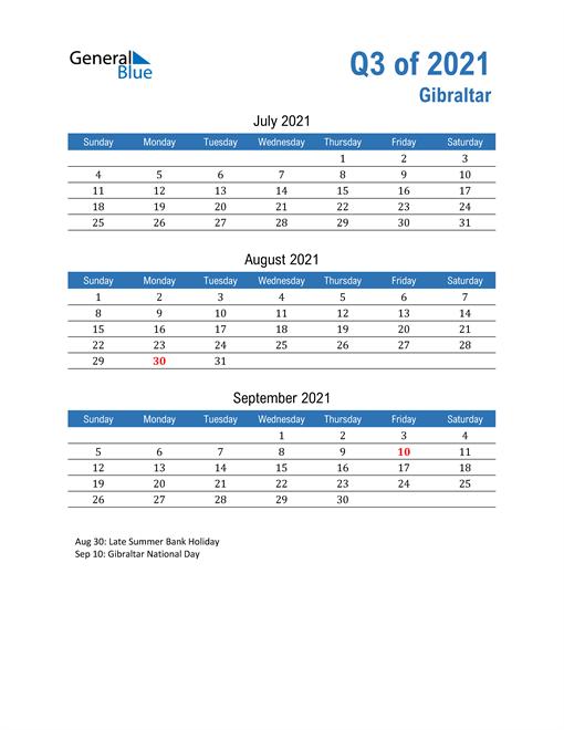 Gibraltar 2021 Quarterly Calendar