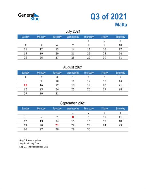 Malta 2021 Quarterly Calendar
