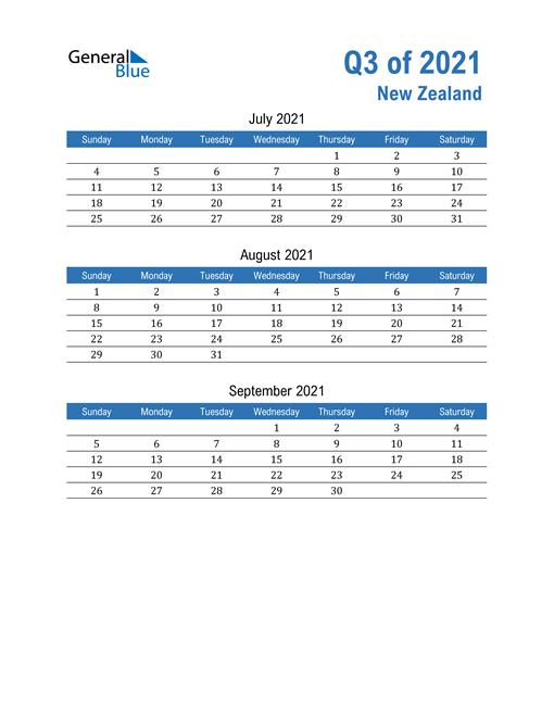 New Zealand 2021 Quarterly Calendar