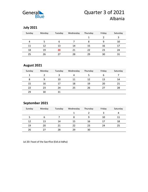 2021 Three-Month Calendar for Albania