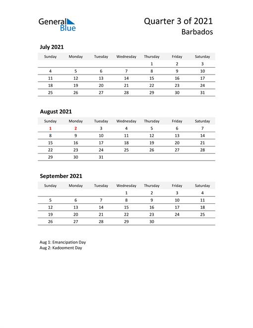 2021 Three-Month Calendar for Barbados