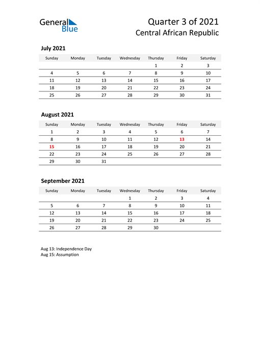 2021 Three-Month Calendar for Central African Republic