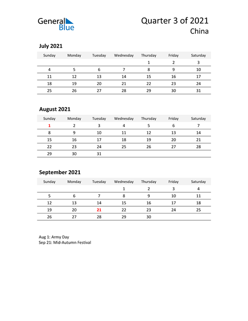 2021 Three-Month Calendar for China