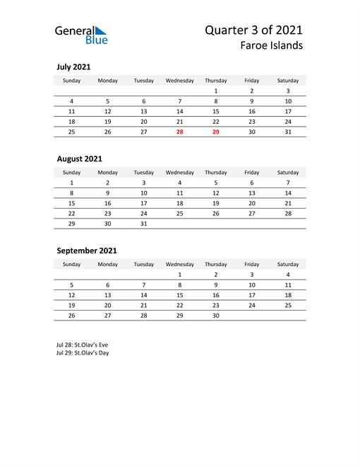 2021 Three-Month Calendar for Faroe Islands