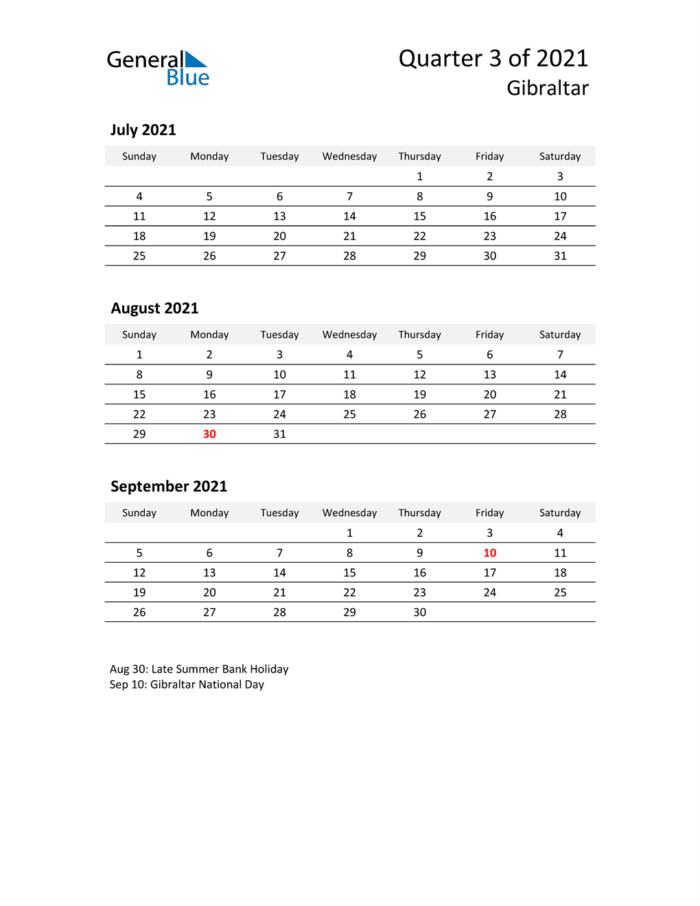 2021 Three-Month Calendar for Gibraltar