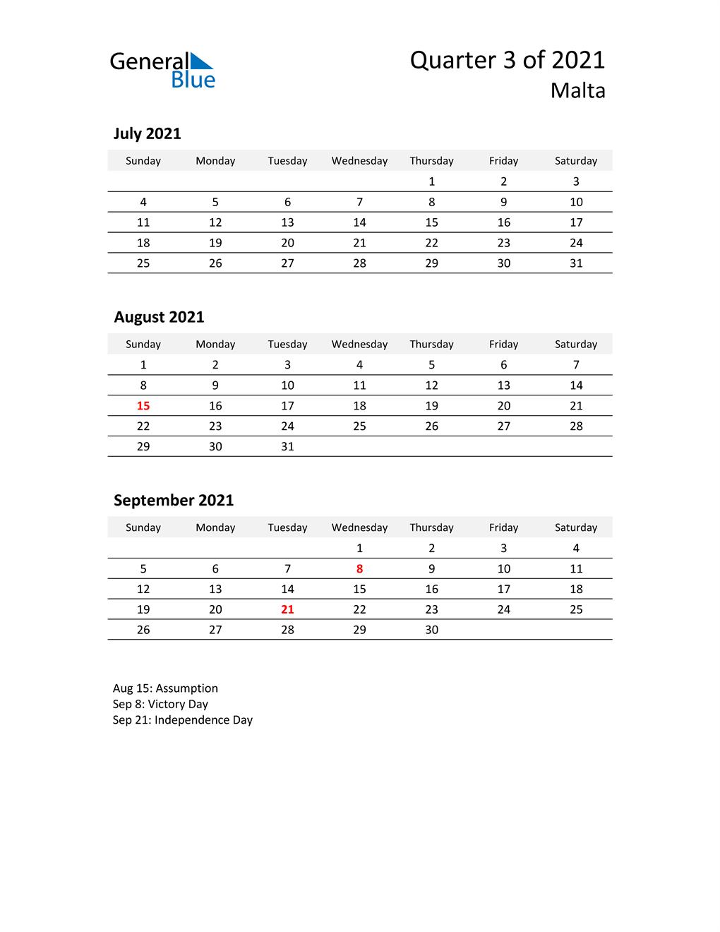 2021 Three-Month Calendar for Malta