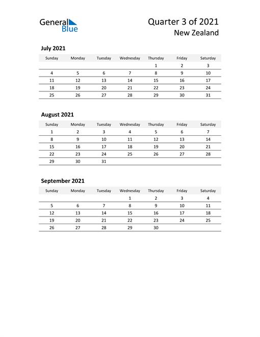 2021 Three-Month Calendar for New Zealand