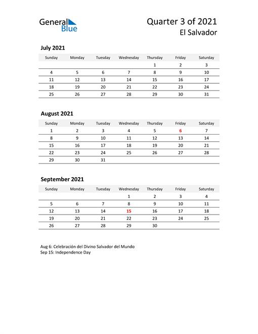2021 Three-Month Calendar for El Salvador